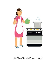 Cartoon character of housewife in apron standing near stove, reading book and cooking meal. Culinary hobby or profession concept. Vector flat illustration
