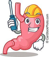 cartoon character of human stomatch worked as an automotive. Vector illustration