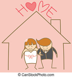 cartoon character of just married couple