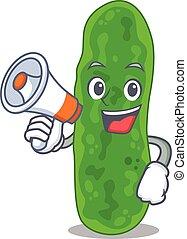 Cartoon character of legionella micdadei having a megaphone...