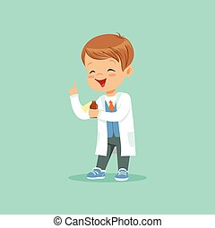 Cartoon character of little baby boy in white coat standing with index thumb up and holding medicine bottle. Flat design vector illustration