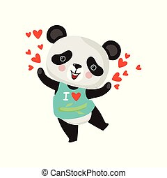Cartoon character of little panda in t-shirt. Funny bamboo bear with pink cheeks spreading love. Flat vector design for greeting card or print