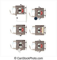 Cartoon character of lock with various chef emoticons.Vector...