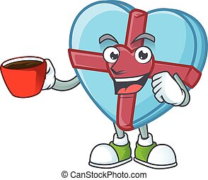 cartoon character of love gift blue with a cup of coffee