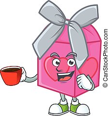 cartoon character of love gift pink with a cup of coffee