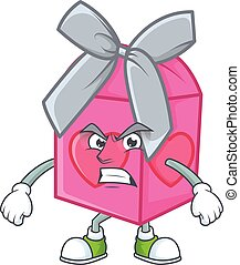 cartoon character of love gift pink with angry face