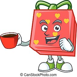 cartoon character of love gift red with a cup of coffee