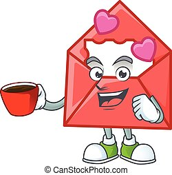 cartoon character of love letter with a cup of coffee