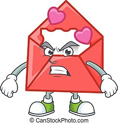 cartoon character of love letter with angry face