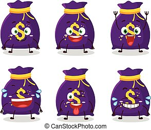 Cartoon character of magic money sack with smile expression