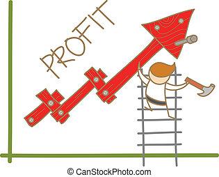 cartoon character of  man building profit up graph
