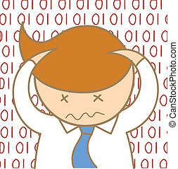 cartoon character of man confusing information data