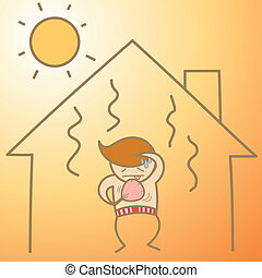 cartoon character of man in the heat house