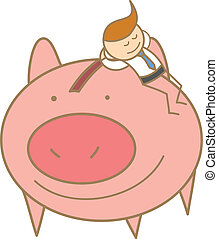 cartoon character of man sleeping on his saving pig