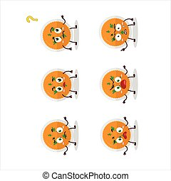 Cartoon character of mashed orange potatoes with what expression
