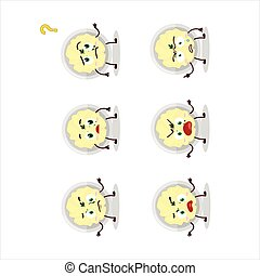 Cartoon character of mashed potatoes with what expression