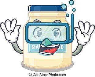 cartoon character of mayonnaise wearing Diving glasses