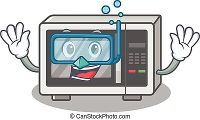 cartoon character of microwave wearing Diving glasses