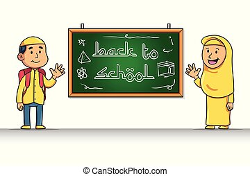 Cartoon Character Of Moslem Student Give Back To School ...