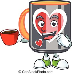 cartoon character of mug love with a cup of coffee