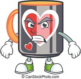 cartoon character of mug love with angry face
