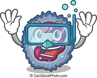 cartoon character of neutrophil cell wearing Diving glasses...