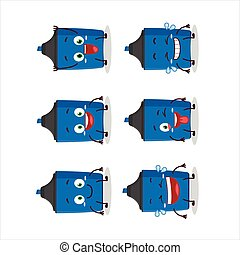 Cartoon character of new blue highlighter with smile expression