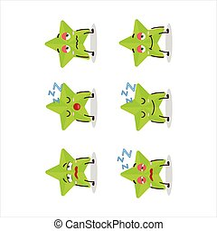 Cartoon character of new green stars with sleepy expression.Vector illustration