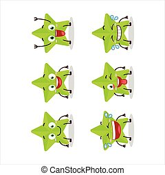 Cartoon character of new green stars with smile expression.Vector illustration