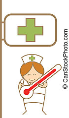 cartoon character of nurse holdng thermometer in front of hospital