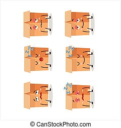 Cartoon character of office boxes with sleepy expression