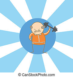 cartoon character of old man begin to workout