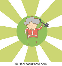 cartoon character of old woman begin to workout