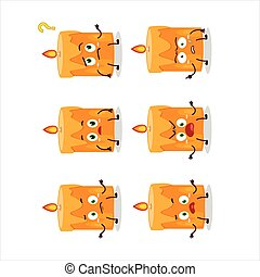 Cartoon character of orange candle with what expression....