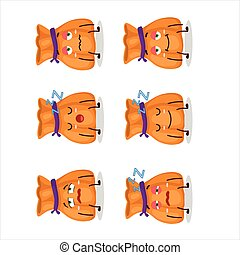 Cartoon character of orange candy sack with sleepy expression