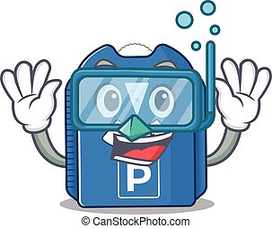 cartoon character of parking disc wearing Diving glasses. ...