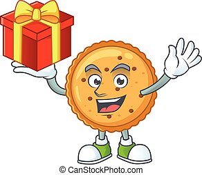 cartoon character of peanut butter cookies with a box of gift