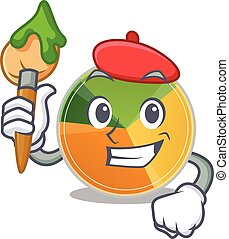 Cartoon character of pie chart Artist with a brush