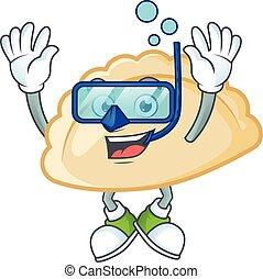 cartoon character of pierogi wearing Diving glasses