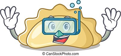 cartoon character of pierogi wearing Diving glasses. Vector illustration