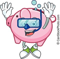 cartoon character of piggy bank wearing Diving glasses