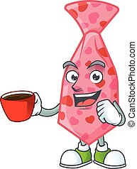 cartoon character of pink love tie with a cup of coffee