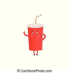 Cartoon character of plastic cup with sweet soda isolated on white background.