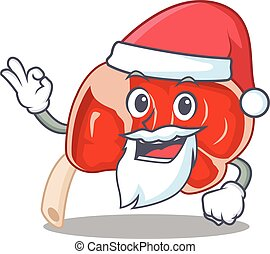 cartoon character of prime rib Santa having cute ok finger. ...