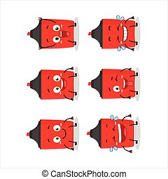 Cartoon character of red highlighter with smile expression