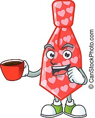 cartoon character of red love tie with a cup of coffee