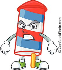 cartoon character of rocket USA stripes with angry face
