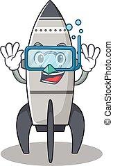 cartoon character of rocket wearing Diving glasses
