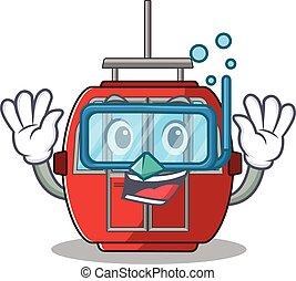 cartoon character of ropeway wearing Diving glasses