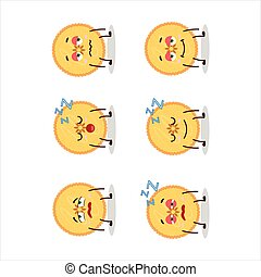 Cartoon character of savory pie with sleepy expression....